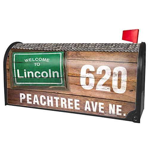 NEONBLOND Custom Mailbox Cover Green Road Sign Welcome to Lincoln -
