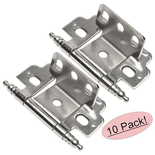 Hinges Cabinet Chrome (10 Pair Pack - Cosmas 13180-SN Satin Nickel 3/4