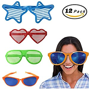 Jumbo Sunglasses Novelty Plastic Photo Booth Glasses Fun Shutter Shades for Costumes Cosplay Props Party Supplies Variety (Pack of 12)