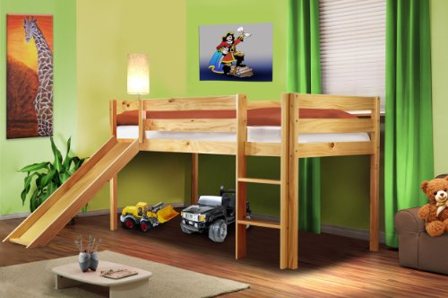 hochbett kinderbett spielbett mit rutsche massiv kiefer natur shb 1033 bettmix. Black Bedroom Furniture Sets. Home Design Ideas