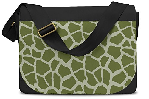 Bright Giraffe Print Army Green - One Size Messenger Bag - Messenger Bag