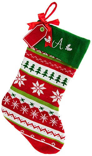 Monogrammed Christmas Stocking, Red with Green Cuff Fair Isle Knitted, White Script Glitter Initial A