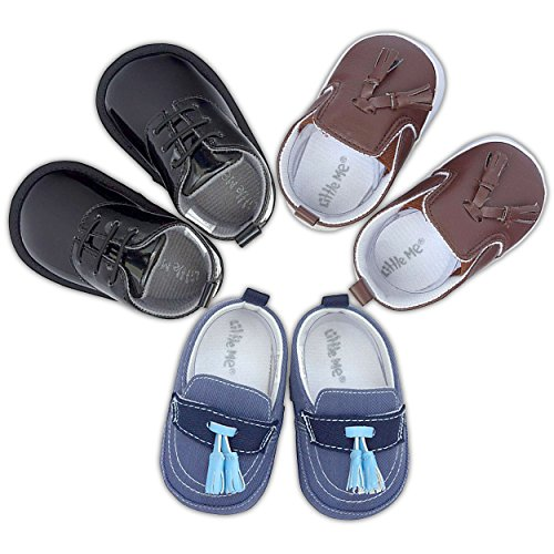 Image of 3 Pack Baby Infant & Newborn Boy Shoes- Soft Sole Baby Prewalker Crib Shoes- Assorted Baby Dress Shoes- Baby Loafers- for Newborn Infant Baby 0-6 Months- in Size 1, 1.5, 2, 2.5, 3