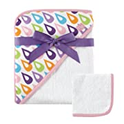 Hudson Baby Woven Hooded Towel and Washcloth Set, Purple