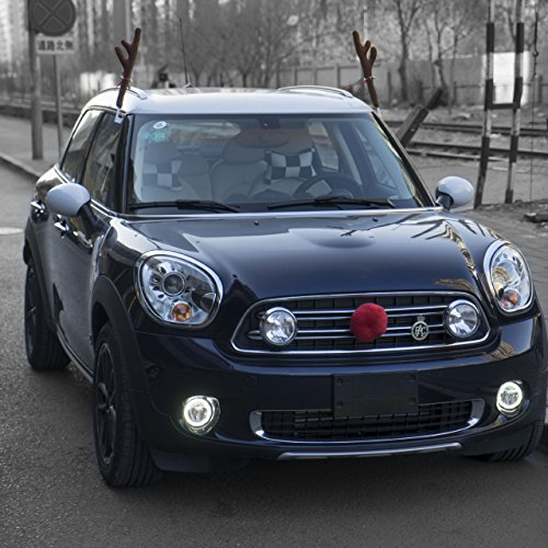 lorcoo plush rudolf the reindeer antlers and red nose car set christmas festive accessory. Black Bedroom Furniture Sets. Home Design Ideas