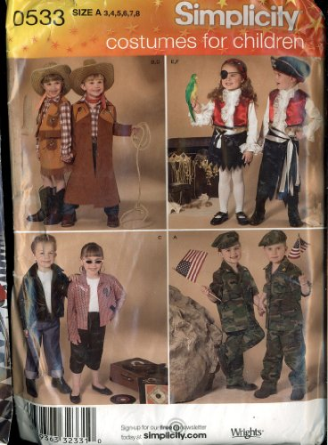 Simplicity Halloween Costumes for Children - Cowboy, Cowgirl / Pirate, Soldier, 50s - Size A 3, 4, 5, 6, 7 8 Pattern -