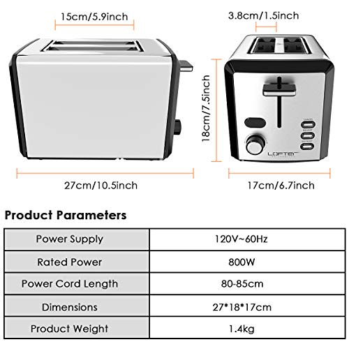 2 Slice Toaster, LOFTER Mirror Stainless Steel Toaster Extra Wide Slots Toasters with 6 Shade Settings, Compact LED Display with Removable Crumb Tray, Defrost/Reheat/Cancel, High Lift Lever, 800W
