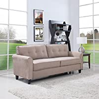 Divano Roma Furniture Classic Ultra Comfortable Brush Microfiber Fabric Living Room Sofa (Hazelnut)