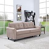 Classic Ultra Comfortable Brush Microfiber Fabric Living Room Sofa (Hazelnut)