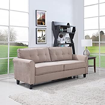 Beige Classic Living Room Linen Sofa With Nailhead Trim Furniture