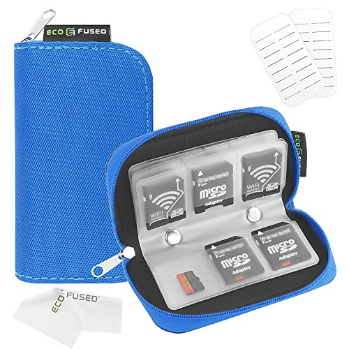 Label Holders Type - Memory Card Case - Fits up to 22x SD, SDHC, Micro SD, Mini SD and 4X CF - Holder with 22 Slots (8 Pages) - for Storage and Travel - Microfiber Cleaning Cloth and Labels Included