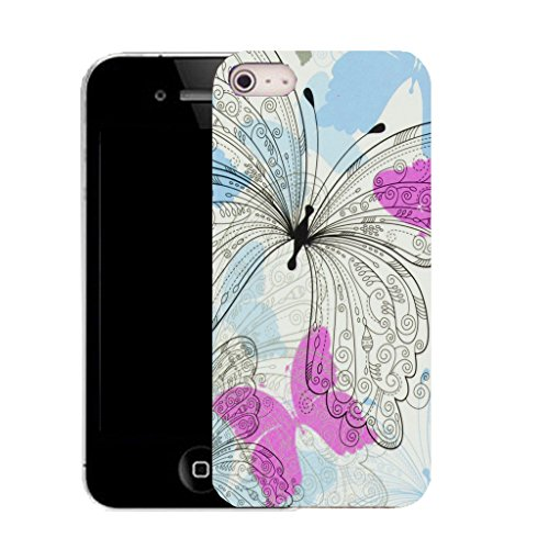 Mobile Case Mate IPhone 5S clip on Silicone Coque couverture case cover Pare-chocs + STYLET - dainty butterfly pattern (SILICON)
