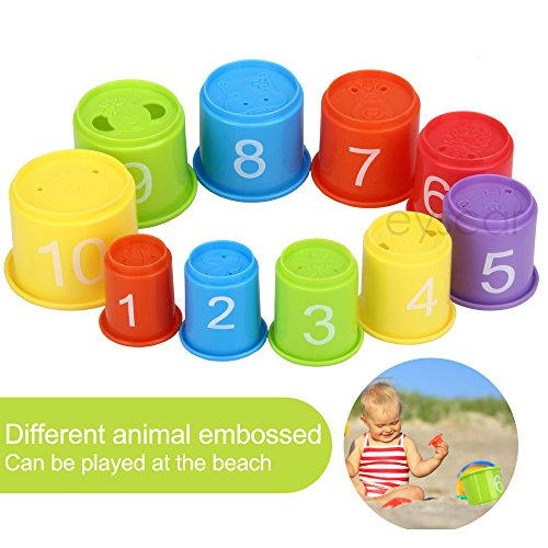 eyscar Stacking Cups Early Educational Toddlers Toy Bathtub Toys with Numbers & Animals Game for Kids Baby 11 Pack by eyscar (Image #4)