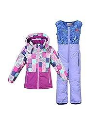 Phibee Little Girls' 2-Piece Winter Waterproof Snow Bibs and Ski Jacket Warm Snowsuit