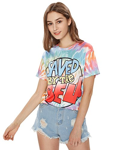 Romwe Women's Colorful Tie Dye Ombre Round Neck Tee Shirt Top Multicolored_letter2 L ()