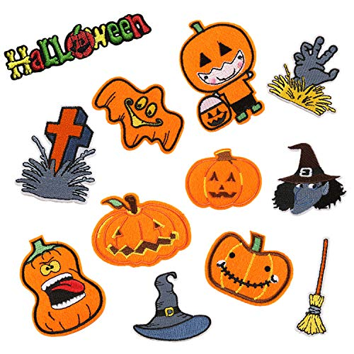 Gold Element Halloween Costume (Halloween Embroidered Patches Cute Pumpkin Appliques Iron On/Sew On Fabric Badges with Lovely Ghost Wizard Hat Broom Gold Pumpkin Light Witch Logo Design DIY for Halloween Costume Accessories(12)