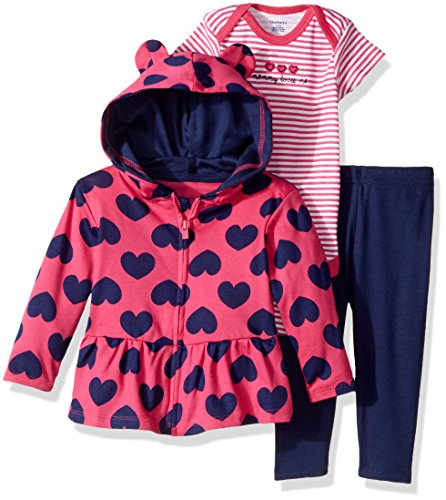 Gerber Baby 3 Piece Hooded Jacket, Bodysuit and Pant Set, hearts, 6-9 Months