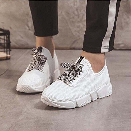 para Ligeras Talla 35 Negras Transpirable Zapatos Casuales atléticos de Mujer Zapatillas Zapatos 42 Cómodo Blancas Malla Blanco 4qAfwxEv