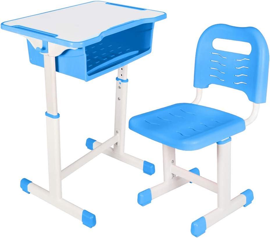 Kids Desk and Chair Set Height Adjustable Ergonomic Children Sturdy Table, Childs Study School Desk Kids Art Writing Desk (Blue)
