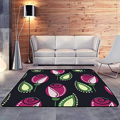 Bath Rugs for Bathroom Non Slip,Floral Vector Pattern Symmetrcial Ornamental with Pink Roses Leaves.W 71
