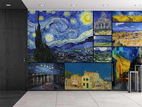 wall26 peel and stick wallpapaer famous paintings collage by vincent van gogh removable large wall mural creative wall decal 66x96 inches