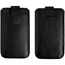 Emartbuy Black/Black Genuine Leather Sleeve Slide in Pouch Case Cover (Size 2) with Credit Card Slot & Pull Tab Mechanism Suitable for Smartphones/Cellphones Listed Below
