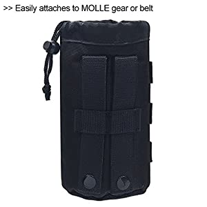 Cevinee™ Ultra-light Tactical MOLLE Water Bottle Pouch, Drawstring Open Top & Mesh Bottom Travel Water Bottle Bag - Black