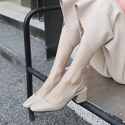 versatile di e Baotou tacco quel beige Moda Da 39 Alla scarpe set spesso Donna Sandali con AJUNR script alta ad 5cm XOw7xpvq7