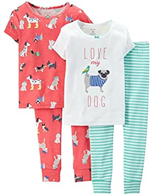 Baby Girls' 4 Piece Print PJ Set (Baby) Love My Dog