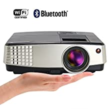 EUG Mini Projector WiFi Wireless Bluetooth Airplay Miracast HDMI- 2600 Lumens Support 1080P/ 720P LCD Display- for Home Theater Cinema Movie Entertainment Games Party- 50,000 Hours LED Lifespan