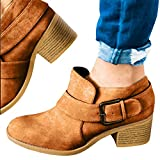 BBalizko Womens Ankle Buckle Booties Chunky Leather Low Heel Closed Toe Boots