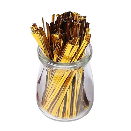 Affluence 100pcs Metallic Golden Twist Ties, 4