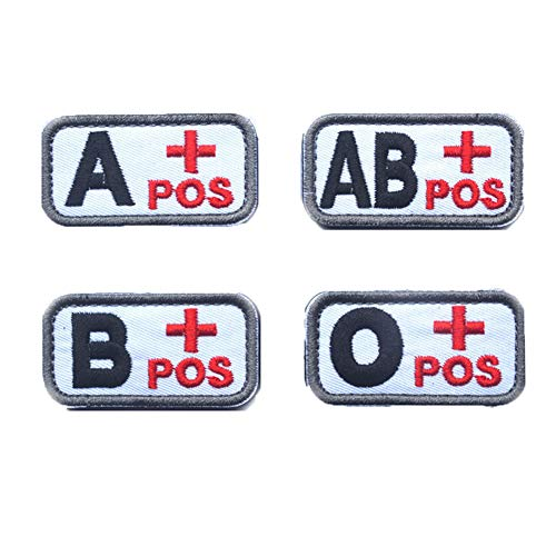 SOUTHYU 4 Pack Tactical Blood Type Patches Embroidered A+ B+ AB+ O+ Positive POS Hook and Loop Morale Patch Badge for Outdoor Military Army Gear, Operator Cap ()