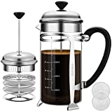 French Press Coffer Tea Maker (34 oz), BAYKA 304 Stainless Steel Coffee Press with 4 Level Filtration System, Heat Resistant Thickened Borosilicate Glass