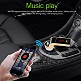 Glumes Bluetooth FM Transmitter for Car, Wireless Radio Transmitter Adapter Mp3 Player with Hands Free Calls, Quick Charge Dual USB Car Charger, for Samsung/iPhone, Good Gift (Gold)