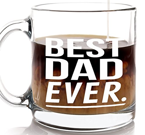 Gift for Dad Best Dad Ever Coffee Mug - Father's Day Gift for Dads from Son Daughter Kids Baby - Present for Father Papa Pop or Daddy on Birthday Christmas (Father Christmas Glass)