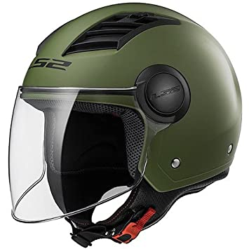 Casco Jet Moto LS2 of562 Airflow Long con visera larga verde militar mate Extra Large