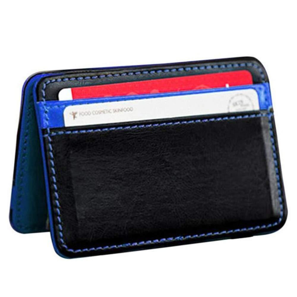 Slim Mini Neutral Magic Bifold Leather Wallet Card Holder Purse Money Clip for Men & Women (Blue)