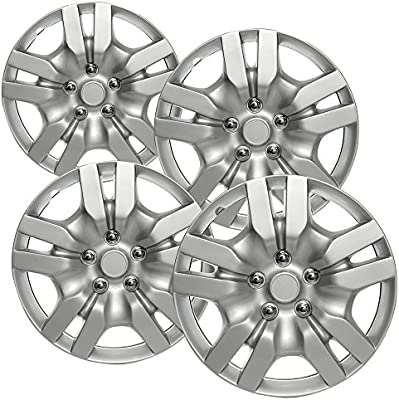 OxGord HC-53078-16SL 16 inch Silver Hubcaps Set of 4