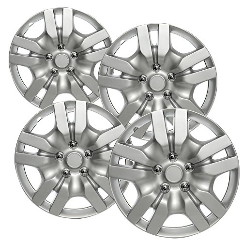 Hubcaps for 16 inch Standard Steel Wheels (Pack of 4) Wheel Covers - Snap On, Silver (2000 Sebring Chrysler Wheel)