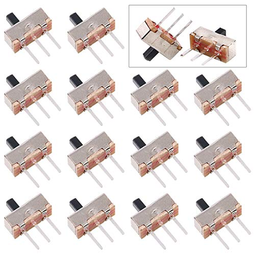 Glarks 50Pcs SS-12D00G3 2 Position SPDT 1P2T 3 Pin PCB Panel Mini Vertical Slide Switch for Arduino