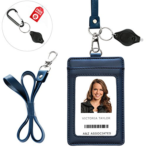 Lanyard Wallet with Genuine Leather Badge Holder with 1 ID Window & 2 Back Card Pockets. 17.5 PU Leather Neck Strap. Carabiner Keychain Flashlight with Key Ring. Vertical Style. Midnight Blue Color