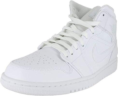 Jordan Mens Air Jordan 1 Mid Leather Synthetic White Trainers 11 US