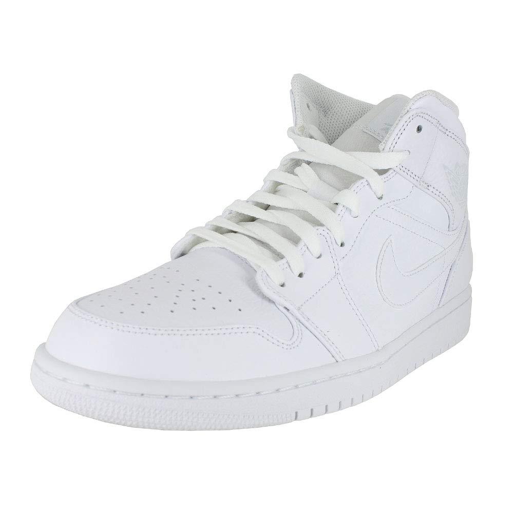Jordan Mens AIR Jordan 1 MID White Pure Platinum White Size 11