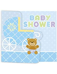 Creative Converting Baby Shower Teddy Baby Blue 8 Count Enhanced Invitations BOBEBE Online Baby Store From New York to Miami and Los Angeles