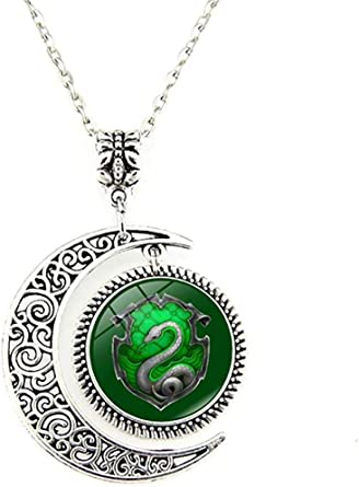 Moon Pendant Snake Green Silver Charm Crescent Necklace Jewelry Gift