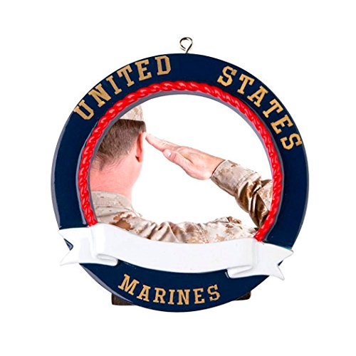 Personalized United States Marines Picture Frame Christmas Tree Ornament 2019 - Round Star Maritime Corps Sailor Service Proud Patriotic Memory Milestone Photo Battle Gift Year - Free - States Marine Personalized United