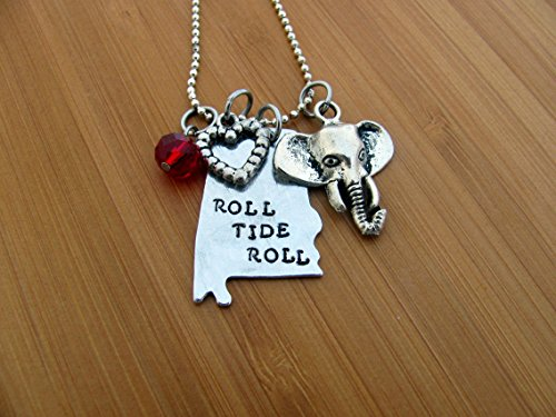 Alabama State Necklace, Roll Tide Roll, Crimson Crystal, Heart and Elephant Charm, Hand - Tide Alabama Crimson Crystal