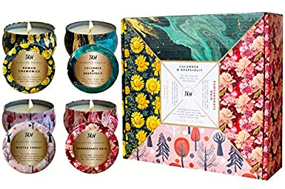 T&H Aromatherapy Candles - Gifts for Women-Scented Candles - Soy Wax 140 Hour burn time. Cucumber + Grapefruit, Roman Chamomile, Pomegranate Noir, Winter Forest (Set of 4 Seasons Tin Candles)
