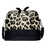 Women Leopard Print Crossbody Bag Fawn Pendant Shell Shoulder Bag Messenger Bag